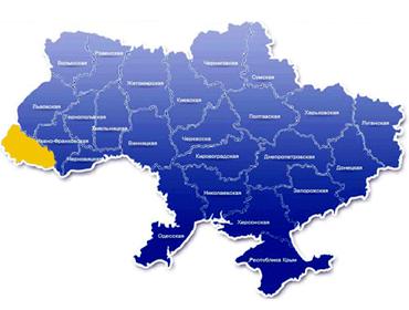 Закарпатская обл. на карте Украины