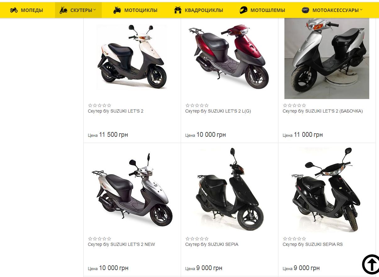 Цены на скутеры.